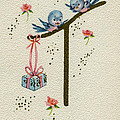 Vintage Greeting. Baby Bluebirds Bring Gift For New Infant by Pierpont Bay Archives