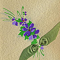 Vintage Greeting. Bouquet Of Purple Spray Flowers With Green Ribbon.  by Pierpont Bay Archives