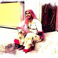 Vintage Just Sitting 2 - Woman Portrait - Indian Village Rajasthani by Sue Jacobi