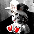 Vintage Lady Head Vase - Black And White With Red by Carol Groenen