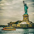 Vintage Look Of The Statue Of Liberty - Liberty Island Hudson River New York City by Silvio Ligutti