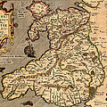Vintage Map Of Wales 1633 by Andrew Fare