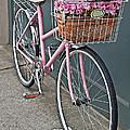 Vintage Pink Bicycle With Pink Flowers Art Prints by Valerie Garner