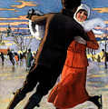 Vintage Poster Couples Skating At Christmas On Frozen Pond by R Muirhead Art