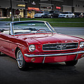 Vintage Red 1966 Ford Mustang V8 Convertible  E48 by Wendell Franks