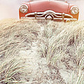 Vintage Red Car In The Sand Dunes by Edward Fielding