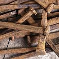 Vintage Rusty Square Nails by Donald  Erickson