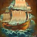 Vintage Sail On Wood by Doreta Y Boyd