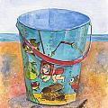 Vintage Sand Pail Sweet Pea by Sheryl Heatherly Hawkins