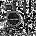 Vintage Steam Tractor Black And White by Douglas Barnard