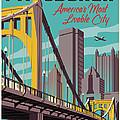 Pittsburgh Poster - Vintage Travel Bridges by Jim Zahniser