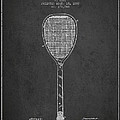 Vintage Tennnis Racket Patent Drawing from 1887-Dark by Aged Pixel