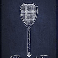 Vintage Tennnis Racket Patent Drawing From 1887-navy Blue by Aged Pixel