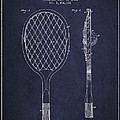 Vintage Tennnis Racket Patent Drawing From 1921 - Navy Blue by Aged Pixel