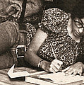 Vintage Young Woman Writing  by Donna Haggerty