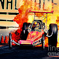 Vintage Top Fuel Dragster Fire Burnout-wild Bill Carter by Howard Koby