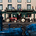 Vintage Tractors Lined by Panoramic Images