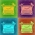Vintage Typewriter Pop Art 1 by Naxart Studio