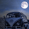 Vintage Vw Bus Parked At The Beach Under The Moonlight by Edward Fielding