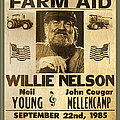 Vintage Willie Nelson 1985 Farm Aid Poster by John Stephens