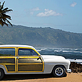 Vintage Woody On Hawaiian Beach by Ed Freeman
