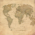 Vintage World Map by Gina Dsgn