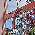 Vintage Wrought Iron Bike In Window Art Prints by Valerie Garner
