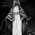 Virgen Mary In Black And White by Carmen Cordova
