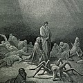 Virgil And Dante Looking At The Spider Woman, Illustration From The Divine Comedy by Gustave Dore
