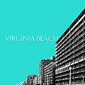 Virginia Beach Skyline Boardwalk  - Aqua by DB Artist