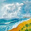 Virginia Beach With Pier by Walt Brodis