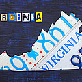 Virginia License Plate Map Art by Design Turnpike