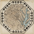 Virginia Map With Civil War Heroes by Bill Cannon