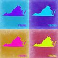 Virginia Pop Art Map 2 by Naxart Studio