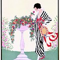 Vogue Cover Featuring A Woman Smelling A Rose by Helen Dryden
