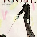 Vogue Cover Featuring A Woman Walking A Dog by Rene R. Bouche