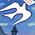 Vogue Cover Illustration Of A Dove Holding A Sign by Eduardo Garcia Benito