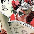 Vogue Cover Illustration Of A Woman Reading by Rene Bouet-Willaumez