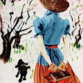 Vogue Cover Illustration Of A Woman Walking by Rene Bouet-Willaumez