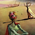 Vogue Cover Illustration Of A Woman With Flowers by Salvador Dali