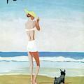 Vogue Magazine Cover Featuring A Woman On A Beach by Eduardo Garcia Benito