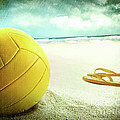Volleyball In The Sand With Sandals by Sandra Cunningham