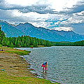 Wading In Johnson Lake In Banff Np-alberta by Ruth Hager