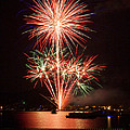Wading View Of Fireworks by Mark Miller