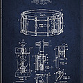 Waechtler Snare Drum Patent Drawing From 1910 - Navy Blue by Aged Pixel