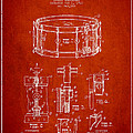 Waechtler Snare Drum Patent Drawing From 1910 - Red by Aged Pixel