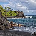 Waianapanapa State Park's Black Sand Beach Maui Hawaii by Edward Fielding