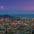 Waikiki And Diamond Head At Sunset by J. Andruckow