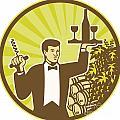 Waiter Serving Wine Grapes Barrel Retro by Aloysius Patrimonio