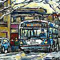 Waiting For The 80 Bus Montreal Memories Winter City Scene Painting January Art Carole Spandau Art by Carole Spandau